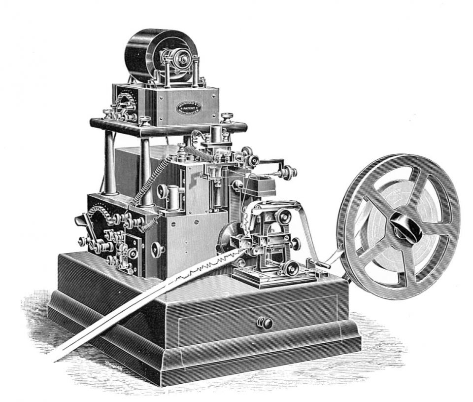 Muirhead_automatic_telegraph_syphon_receiver_(Rankin_Kennedy,_Electrical_Installations,_Vol_V,_1903)